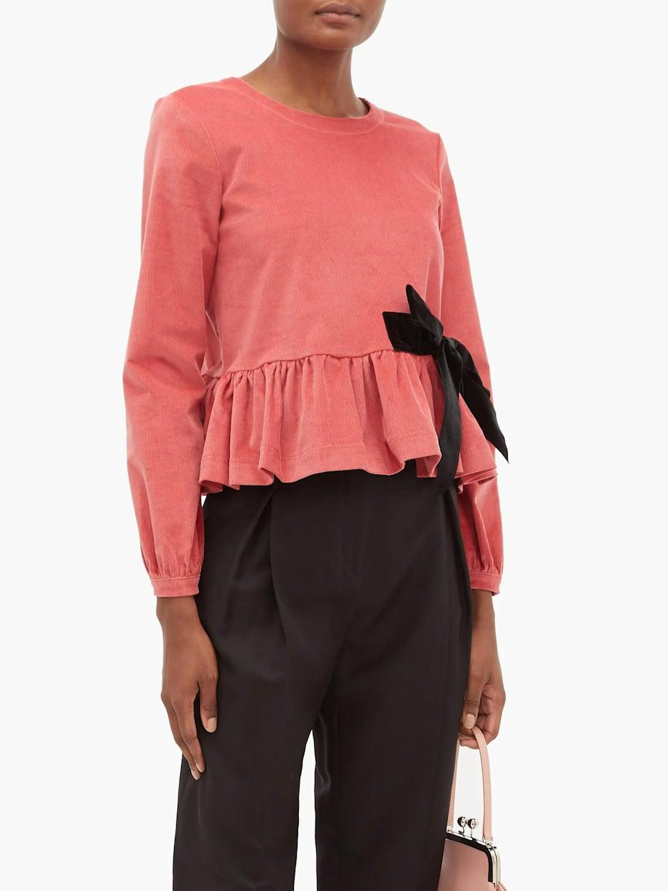 """<br><br><strong>Molly Goddard</strong> Willow Stretch Cotton Corduroy Peplum Top, $, available at <a href=""""https://www.matchesfashion.com/products/Molly-Goddard-Willow-stretch-cotton-corduroy-peplum-top--1304420"""" rel=""""nofollow noopener"""" target=""""_blank"""" data-ylk=""""slk:MatchesFashion.com"""" class=""""link rapid-noclick-resp"""">MatchesFashion.com</a>"""