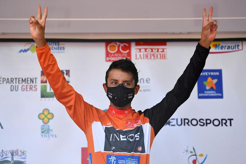 ROCAMADOUR FRANCE AUGUST 04 Podium Egan Bernal of Colombia and Team Ineos Orange Leader Jersey Celebration during the 44th La Route dOccitanie La Depeche du Midi 2020 Stage 4 a 195km stage from Lectoure to RocamadourCauvaldorLot 295m RouteOccitanie RDO2020 on August 04 2020 in Rocamadour France Photo by Justin SetterfieldGetty Images