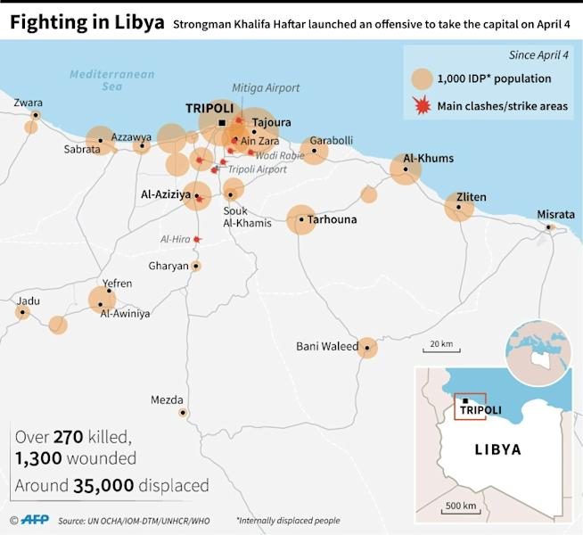 Map of Libya showing areas of displacement since clashes started on April 4