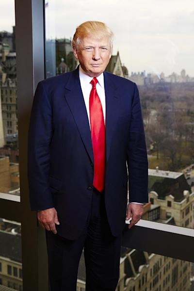 """This Feb. 26, 2013 photo shows businessman and TV personality Donald Trump from """"The Celebrity Apprentice,"""" at his office at Trump Tower in New York. The two-hour premiere of """"All-Star Celebrity Apprentice"""" airs Sunday at 9 p.m. EST on NBC. (Photo by Dan Hallman/Invision/AP)"""
