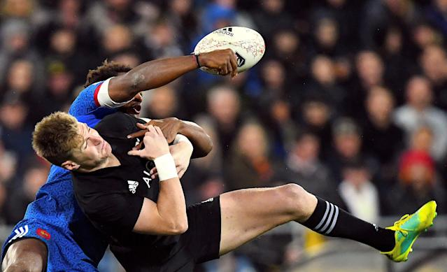 Rugby Union - June Internationals - New Zealand vs France - Westpac Stadium, Wellington, New Zealand - June 16, 2018 - Benjamin Fall of France competes for the ball with Jordie Barrett of New Zealand. REUTERS/Ross Setford TPX IMAGES OF THE DAY