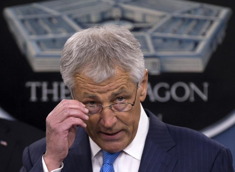 New Defense Secretary Chuck Hagel speaks during a news conference regarding the automatic spending cuts, Friday, March 1, 2013, at the Pentagon. (AP Photo/Carolyn Kaster)