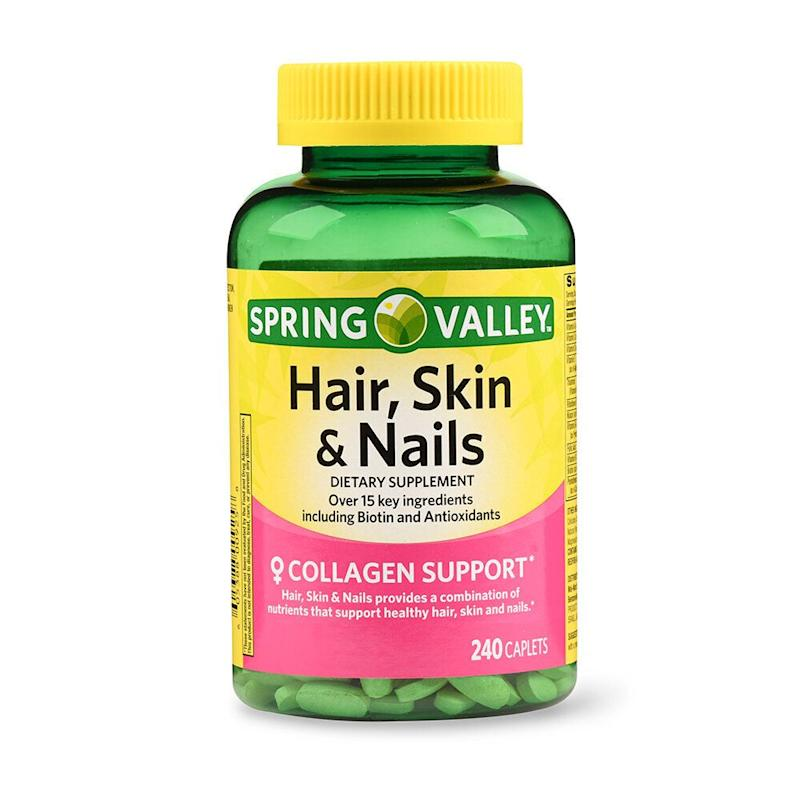 Spring Valley Hair, Skin & Nails Caplets with Biotin & Antioxidants. (Photo: Walmart)