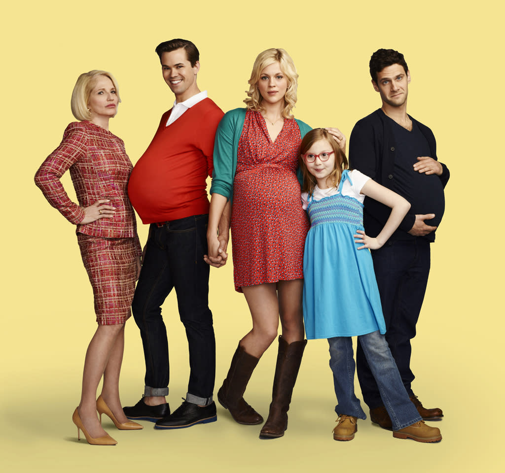 """<b>""""The New Normal"""" (Fall Comedy) </b><br><br>These days, families come in all forms – single dads, double moms, sperm donors, egg donors, one-night-stand donors… It's 2012 and anything goes. Bryan (Andrew Rannells, """"Girls,"""" """"The Book of Mormon"""") and David (Justin Bartha, """"The Hangover"""") are a Beverly Hills couple and they have it all. Well, almost. With successful careers and a committed and loving partnership, the one thing missing is a baby. And just when they think the stars will never align, enter Goldie (Georgia King, """"One Day""""), an extraordinary young woman with a checkered past. A Midwestern waitress and single mother looking to escape her dead-end life and small-minded grandmother (Ellen Barkin, """"Ocean's Thirteen""""), Goldie decides to change everything and move to L.A. with her precocious 8-year-old daughter. Desperate and broke – but also fertile – Goldie quickly becomes the guys' surrogate and quite possibly the girl of their dreams. Surrogate mother, surrogate family. <br><br>Ellen Barkin as Jane, Andrew Rannells as Bryan, Georgia King as Goldie, Bebe Wood as Shania and Justin Bartha as David in """"The New Normal."""""""