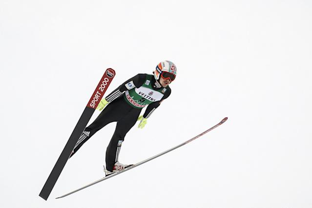 Lahti Ski Games - FIS Nordic World Cup - Men's Ski Jumping - Lahti, Finland - March 4, 2018. Tom Hilde of Norway competes. LEHTIKUVA/Roni Rekomaa via REUTERS ATTENTION EDITORS - THIS IMAGE WAS PROVIDED BY A THIRD PARTY. NO THIRD PARTY SALES. NOT FOR USE BY REUTERS THIRD PARTY DISTRIBUTORS. FINLAND OUT. NO COMMERCIAL OR EDITORIAL SALES IN FINLAND.