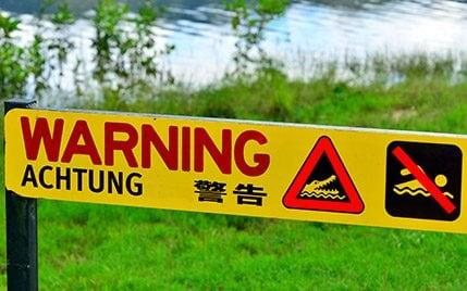 A warning sign in the tropical north of Queensland - Copyright (c) 2016 Rex Features. No use without permission.