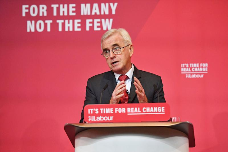 "<strong>Shadow Chancellor John McDonnell:&nbsp;&ldquo;This is public ownership for the future.""</strong> (Photo: ASSOCIATED PRESS)"