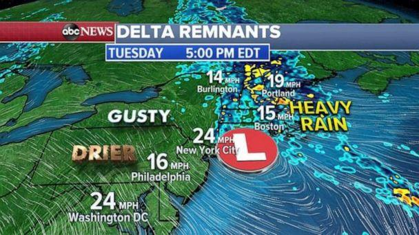 PHOTO: Some gusty winds and rain is expected through the early afternoon from New York City to Boston, but much drier air is moving in the Mid-Atlantic from Washington, D.C. to Philadelphia and it will be much drier and sunnier tomorrow for the Northeast. (ABC News)