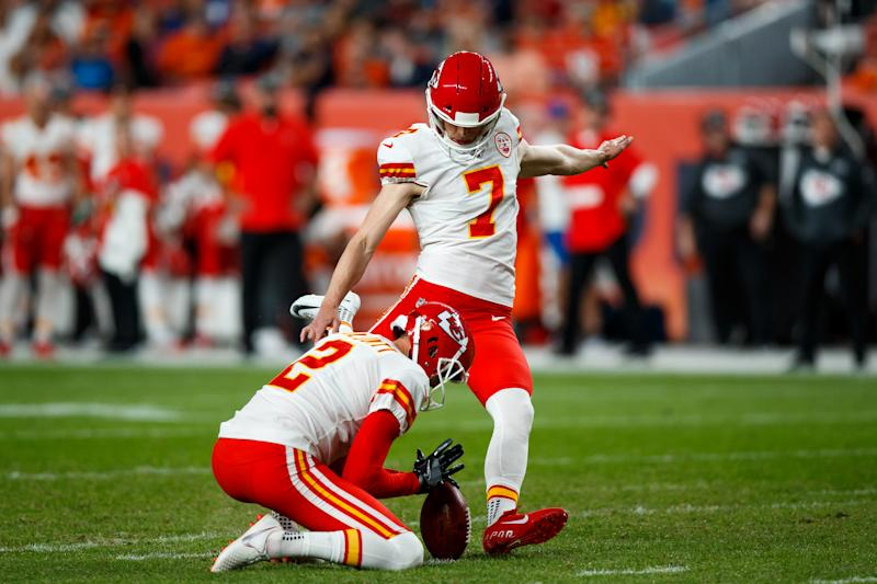 Harrison Butker #7 of the Kansas City Chiefs