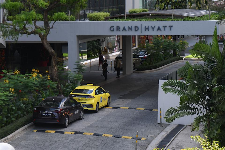 A general view shows the entrance to Grand Hyatt Singapore on 6 February, 2020. (PHOTO: AFP via Getty Images)