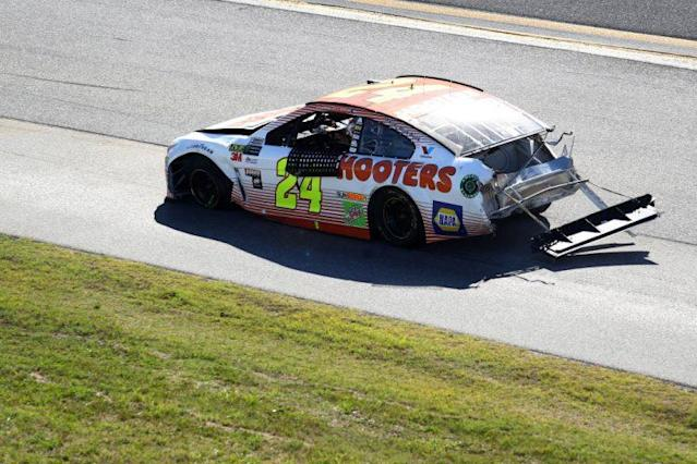 Chase Elliott is sagging, the effects of a Lap 168 wreck. (Getty Images)
