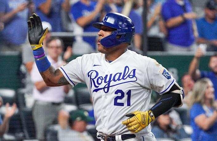 Salvador Perez is a five-time Gold Glove catcher with the Kansas City Royals.