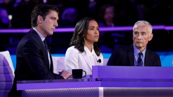 PHOTO: ABC News' 'World News Tonight' Anchor and Managing Editor David Muir, Correspondent Linsey Davis and Univision Anchor Jorge Ramos watch during the third Democratic Primary Debate, in Houston, Sept. 12, 2019. (Heidi Gutman/Walt Disney Television)