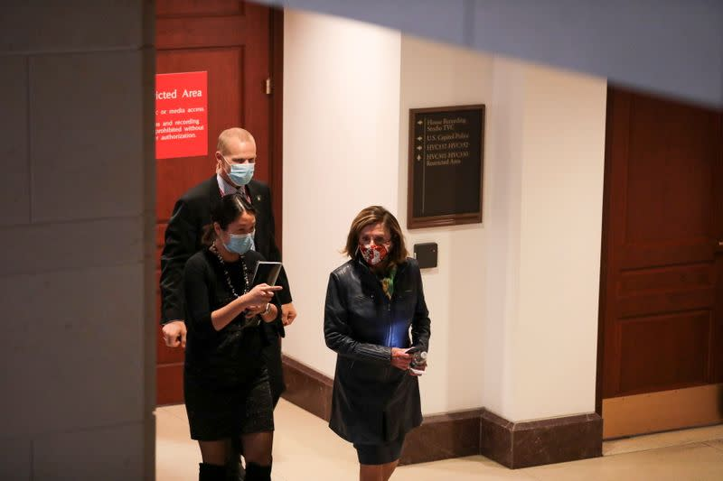 U.S. House Speaker Nancy Pelosi (D-CA) leaves a meeting with House Minority Leader Kevin McCarthy (R-CA), on Capitol Hill, in Washington