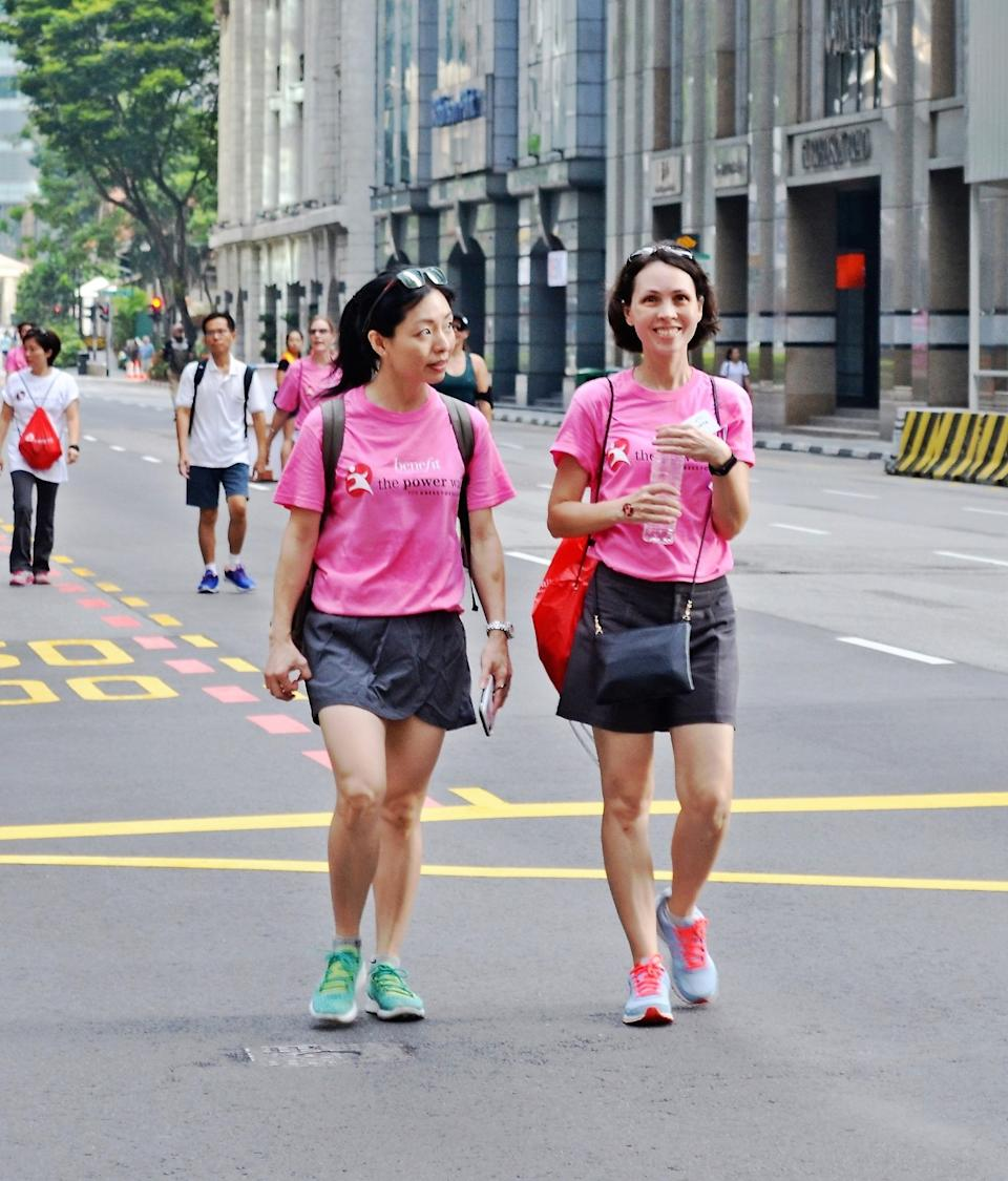 Elizabeth (right) and fellow Board Member Cheryl Ong at the Power Walk for Dress For Success® Singapore fundraiser, 2018. (PHOTO: Image Mission)