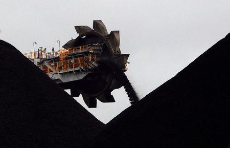 FILE PHOTO: A reclaimer places coal in stockpiles at the coal port in Newcastle June 6, 2012.          REUTERS/Daniel Munoz/File Photo