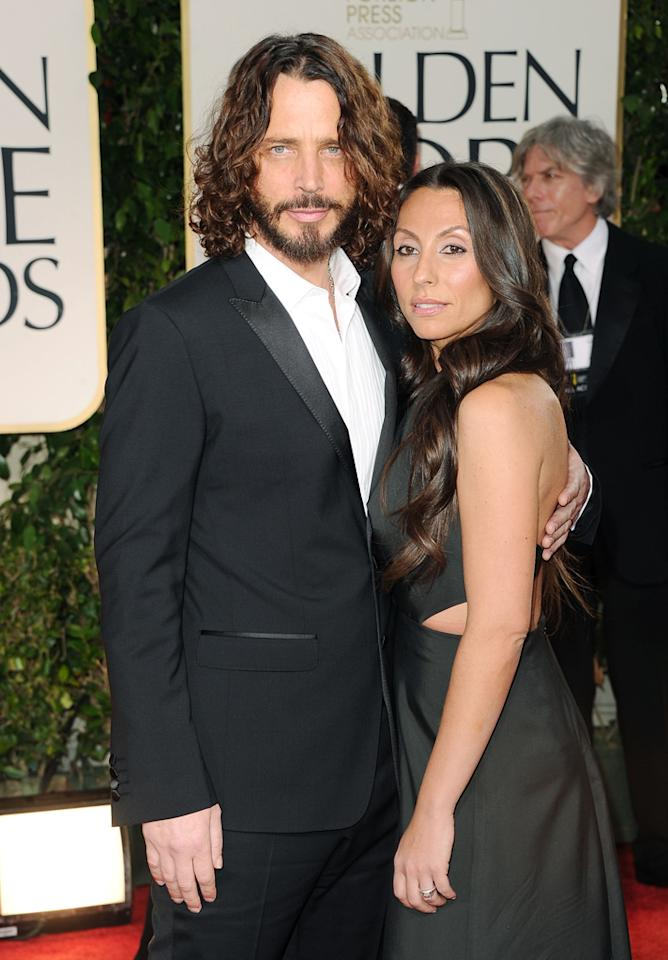 Chris Cornell (L) and wife Vicky Karayiannis arrive at the 69th Annual Golden Globe Awards in Beverly Hills, California, on January 15.