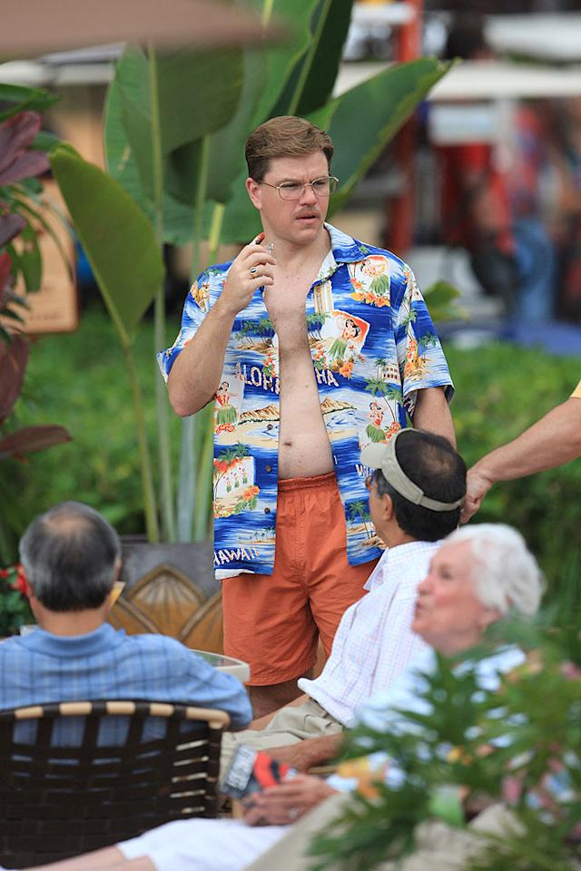 """Matt Damon's trash 'stache, tasteless top, and suspect swim trunks are nearly blinding. Thankfully, this outrageous outfit was sported while the Oscar winner was shooting scenes for an upcoming film. starsurf/<a href=""""http://www.splashnewsonline.com"""" target=""""new"""">Splash News</a> - June 24, 2008"""