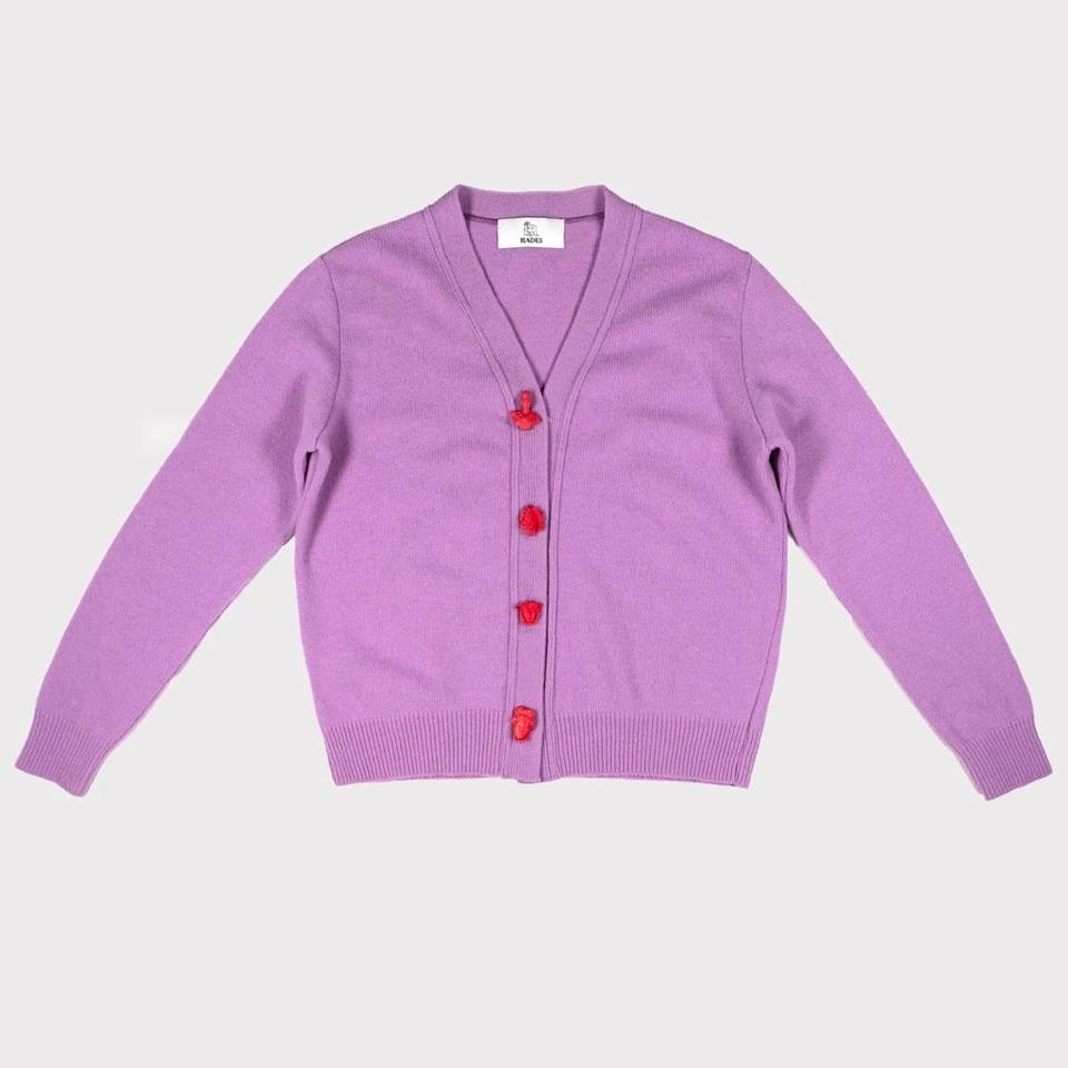 """<br><br><strong>Hades</strong> Lilac Cardigan, $, available at <a href=""""https://hades-shop.co.uk/collections/the-carrington-cardigan/products/carrington-cardigan-lilac-greek-mythology"""" rel=""""nofollow noopener"""" target=""""_blank"""" data-ylk=""""slk:Hades"""" class=""""link rapid-noclick-resp"""">Hades</a>"""
