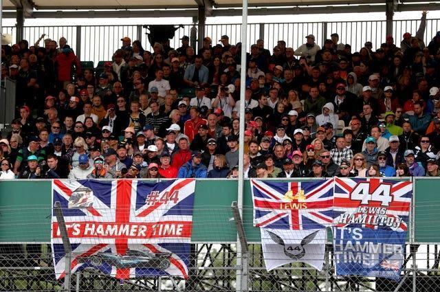 Lewis Hamilton supporters pictured at the 2019 British Grand Prix at Silverstone