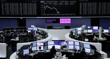 The German share price index, DAX board, is seen at the stock exchange in Frankfurt, Germany, February 9, 2018. REUTERS/Staff/Remote
