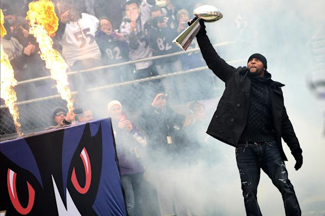 BALTIMORE, MD - FEBRUARY 05: Linebacker Ray Lewis #52 of the Baltimore Ravens celebrates with The Vince Lombardi Trophy as he and teammates celebrate during their Super Bowl XLVII victory parade at M&T Bank Stadium on February 5, 2013 in Baltimore, Maryland. The Baltimore Ravens captured their second Super Bowl title by defeating the San Francisco 49ers. (Photo by Patrick Smith/Getty Images)