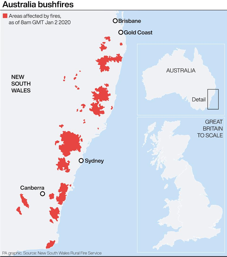 Areas affected by the bushfires, compared to Britain. (PA Graphics)
