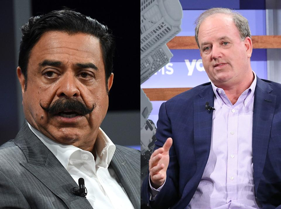 Jacksonville Jaguars owner Shad Khan (L) and Bruin Sports Capital CEO George Pyne (R) at the Yahoo Finance All Markets Summit on Oct. 10, 2019 in New York. (Khan: Simon Cooper/Getty Images; Pyne: Jim Spellman/Getty Images)