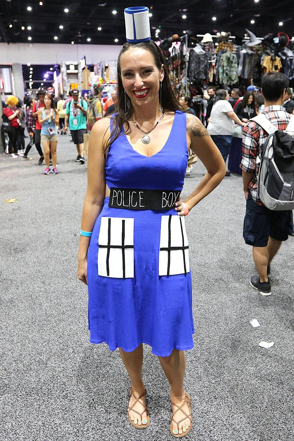 <p>Cosplayer dressed as the TARDIS from <i>Doctor Who</i> at Comic-Con International on July 21, 2018, in San Diego. (Photo: Angela Kim/Yahoo Entertainment) </p>