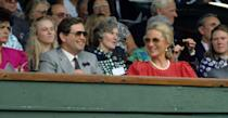 <p>Princess Michael of Kent watches from up in the stands. </p>