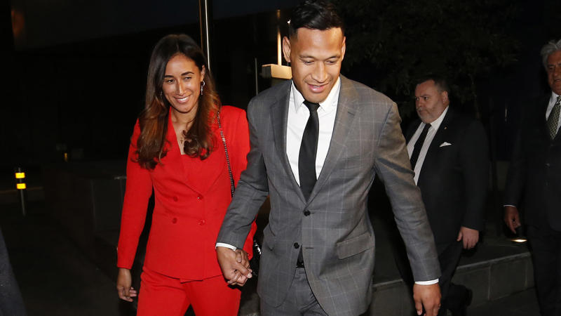 Maria and Israel Folau, pictured here leaving Federal Court after meeting with Rugby Australia.