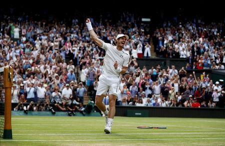 FILE PHOTO: Britain's Andy Murray celebrates winning Wimbledon in Wimbledon, England - 10/7/16. REUTERS/Stefan Wermuth