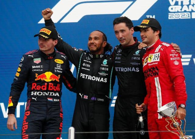Max Verstappen (left) cut through the field to finish second in Russia