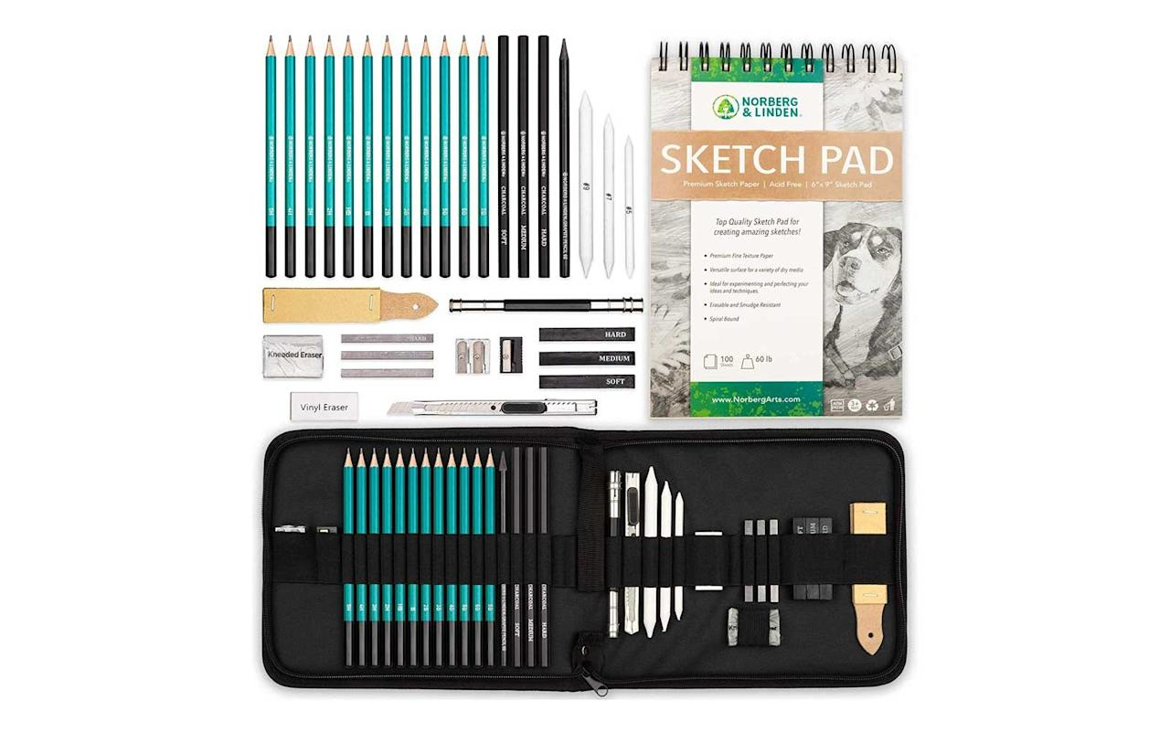 """<p>For that artistic friend who's forever inspired by street artists in Paris or a quiet corner of Central Park, this set includes drawing pads, graphite and charcoal pencils, and a carrying case so they can use it wherever the mood may strike them.</p> <p>To buy: <a href=""""https://www.amazon.com/gp/product/B002YFLQ20/ref=as_li_tl?ie=UTF8&tag=tllastminutegifts-20&camp=1789&creative=9325&linkCode=as2&creativeASIN=B002YFLQ20&linkId=9edb9730febb53b2a60c736969f04c56"""" target=""""_blank"""">amazon.com</a>, $33 (originally $49)</p>"""