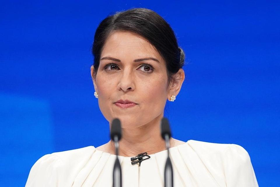 Home Secretary Priti Patel speaks at the Conservative Party Conference in Manchester (Stefan Rousseau/PA) Picture date: Tuesday October 5, 2021. (PA Wire)