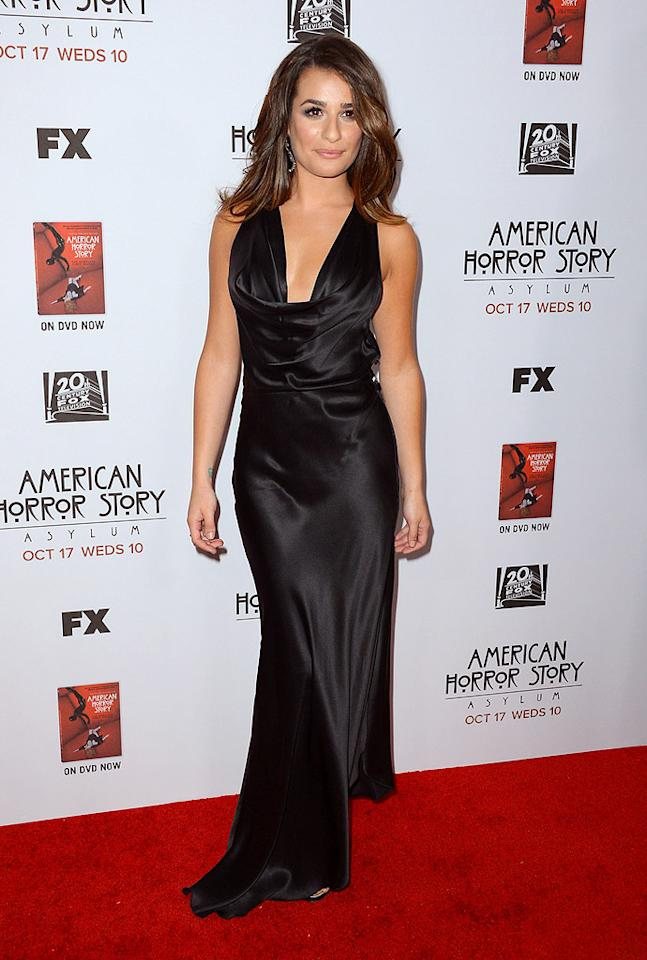 "<p class=""MsoNormal"">Meanwhile, ""Glee's"" Lea Michele turned heads as she arrived at the star-studded premiere of FX's <a target=""_blank"" href=""http://tv.yahoo.com/photos/american-horror-story-who-s-who-in-season-2-slideshow/"">""American Horror Story: Asylum.""</a> Freshly highlighted locks framed her face, while a seductive black Armani gown hugged her curves in all the right places. (10/13/2012)</p><a target=""_blank"" href=""http://omg.yahoo.com/blogs/aline/"">A-Line: Celebrity Style</a>"