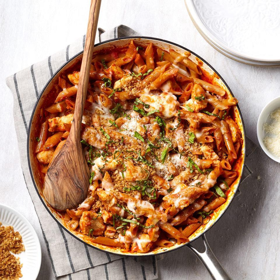 <p>This chicken Parmesan pasta uses the one-pot pasta method to cook your noodles, chicken and sauce all in one skillet for a fast and easy dinner with minimal cleanup. Finish the dish under the broiler to achieve a delicious melted cheese crust.</p>