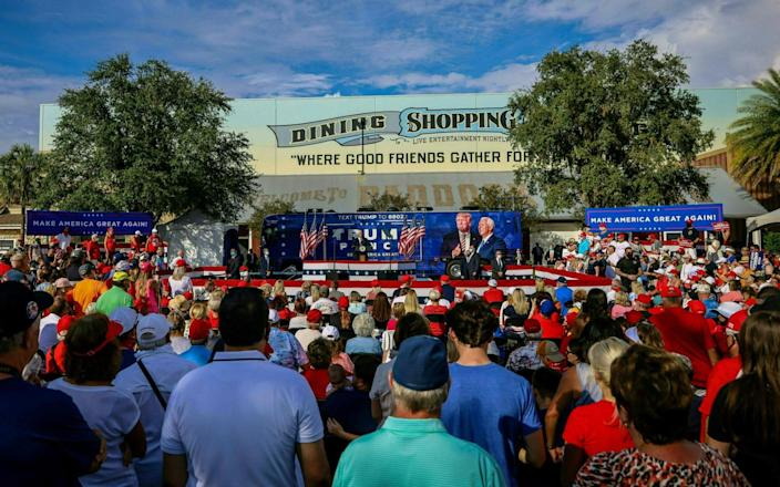 Vice President Mike Pence speaks at a rally in The Villages, Florida  - AFP
