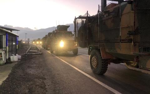 Turkey has begun reinforcing its military deployment near the Syrian border for a possible operation against Syrian Kurdish militia - Credit: AFP