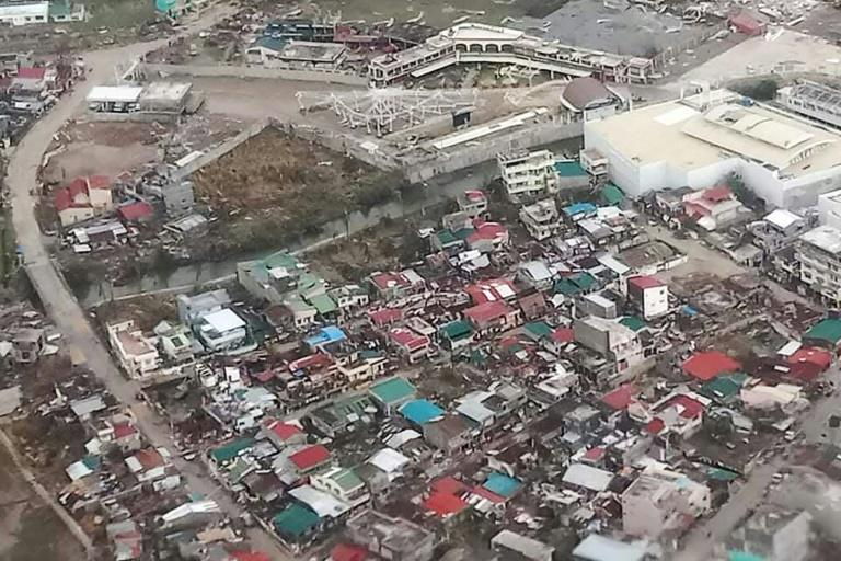 A handout photo from the Philippine Coast Guard shows widespread damage on Catanduanes from Typhoon Goni