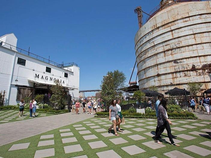 Folks gather at the Magnolia Market at the Silos complex in Waco, Texas.