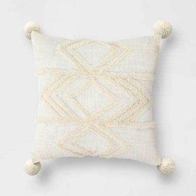 <p>This neutral <span>High Low Throw Pillow</span> ($25) will blend nicely with your couch.</p>