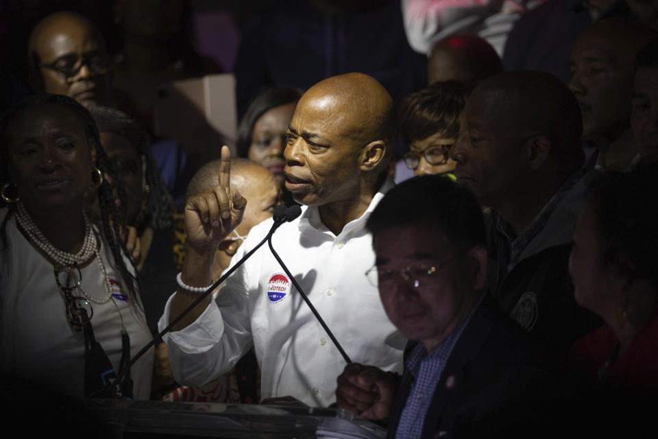 Mayoral Candidate Eric Adams speaks at his election party Tuesday, June 22, 2021, in New York. Adams was leading in the polls with most districts reporting. (AP Photo/Kevin Hagen).