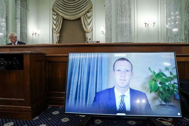 PHOTO: CEO of Facebook Mark Zuckerberg appears on a monitor as he testifies remotely during a Senate hearing to discuss reforming Section 230 of the Communications Decency Act with big tech companies, on Capitol Hill, Oct. 28, 2020 in Washington. (Greg Nash/Pool/Getty Images)