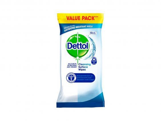 Antibacterial wipes will keep surfaces, keyboards and laptops clean without making them too wet (Dettol)