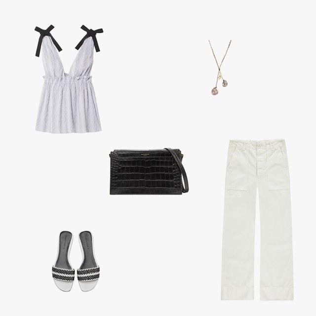 La Ligne grosgrain-trimmed striped cotton-blend poplin top, $250, net-a-porter.com; Amo army pants in vintage white, $260, garmentory.com; Washed Ashore Aphrodite necklace, $1,300, washedashore.co; Saint Laurent Catherine croc-effect leather shoulder bag, $2,150, net-a-porter.com; Zara woven flat sandals, $40, zara.com