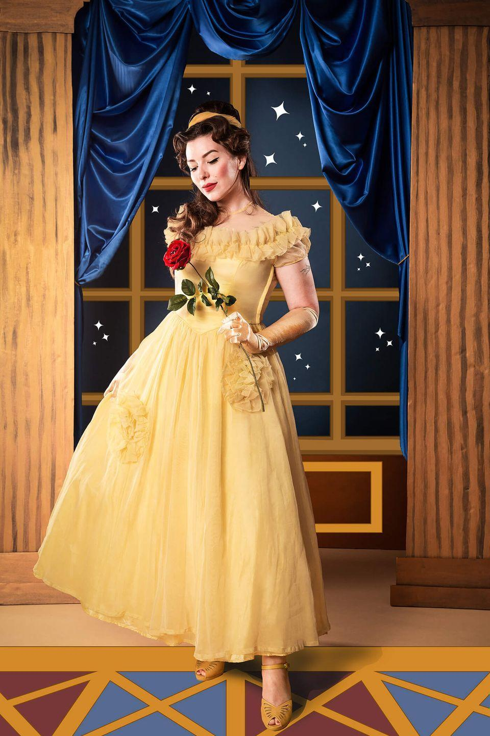"""<p>Go ahead, """"be our guest"""" and dress up as your favorite brown-haired Disney princess for Halloween — a.k.a. Belle from <em>Beauty and the Beast</em>. </p><p><em><a href=""""https://keikolynn.com/2018/10/disney-halloween-costume-belle-from-beauty-and-the-beast/"""" rel=""""nofollow noopener"""" target=""""_blank"""" data-ylk=""""slk:Get the tutorial at Keiko Lynn »"""" class=""""link rapid-noclick-resp"""">Get the tutorial at Keiko Lynn »</a> </em></p><p><strong>RELATED: </strong><a href=""""https://www.goodhousekeeping.com/holidays/halloween-ideas/g4771/disney-halloween-costumes/"""" rel=""""nofollow noopener"""" target=""""_blank"""" data-ylk=""""slk:40 Best Disney Halloween Costumes the Entire Family Will Love"""" class=""""link rapid-noclick-resp"""">40 Best Disney Halloween Costumes the Entire Family Will Love</a></p>"""