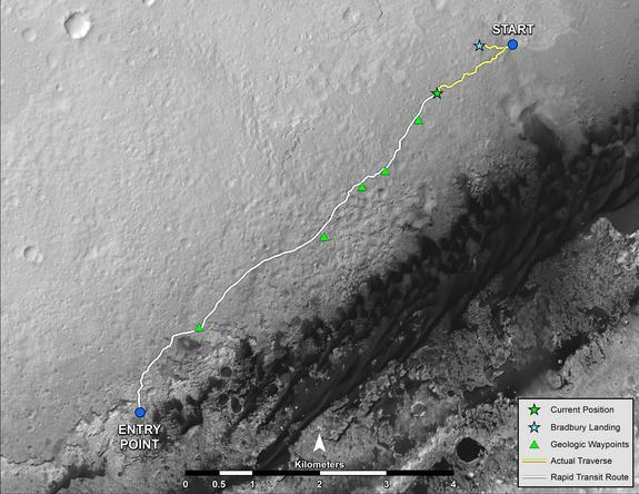 """NASA's Mars rover Curiosity left the """"Glenelg"""" area on July 4, 2013, for the base of Mount Sharp. As of Aug. 27, 2013, Curiosity had driven about 0.86 mile since leaving Glenelg, with about 4.46 miles remaining to get to the entry point"""