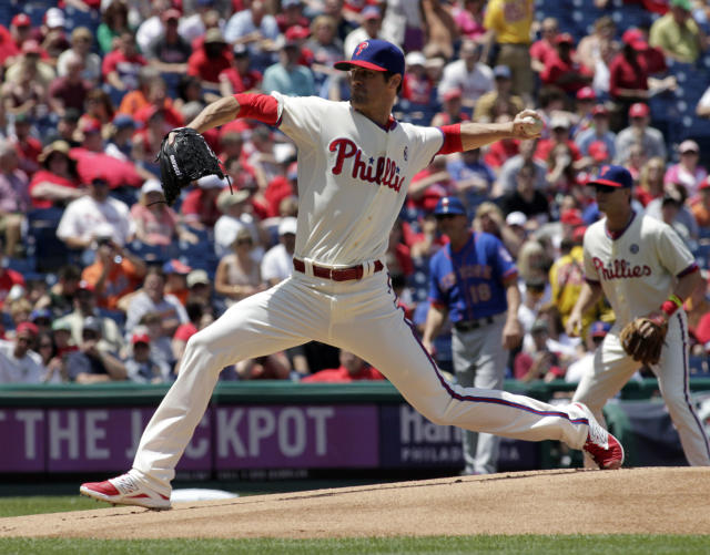 Philadelphia Phillies starting pitcher Cole Hamels throws against the New York Mets in the first inning of a baseball game Sunday, June 1, 2014, in Philadelphia. (AP Photo/H. Rumph Jr.)