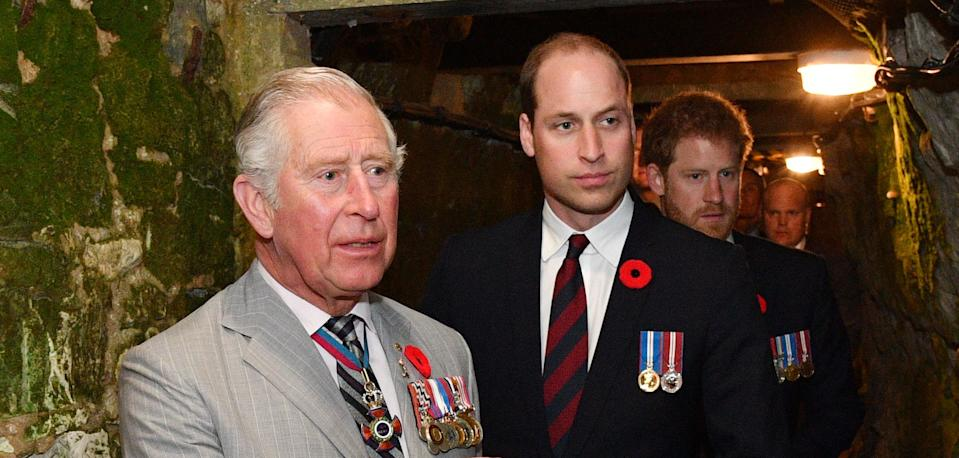 VIMY, FRANCE - APRIL 09: Prince Charles, Prince of Wales, Prince William, Duke of Cambridge and Prince Harry visit the tunnel and trenches at Vimy Memorial Park during the commemorations for the centenary of the Battle of Vimy Ridge on April 9, 2017 in Vimy, France. The Battle Of Vimy Ridge was fought during WW1 as part of the initial phase of the Battle of Arras. Although British-led, it was mostly fought by the Canadian Corps. A centenary commemorative service will be held at the Canadian National Vimy Memorial in France attended by the Prince of Wales, The Duke of Cambridge and Prince Harry and representatives of the Canadian Government. (Photo by Tim Rooke - Pool/Getty Images)